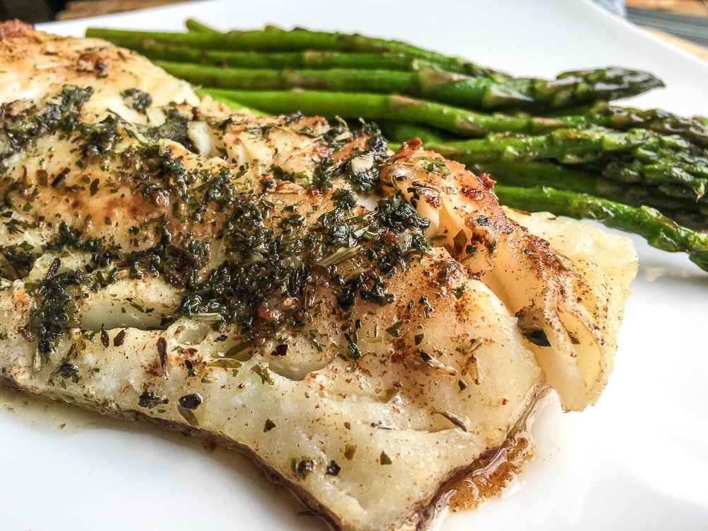 ATLANTIC COD WITH GARLIC-HERB BUTTER