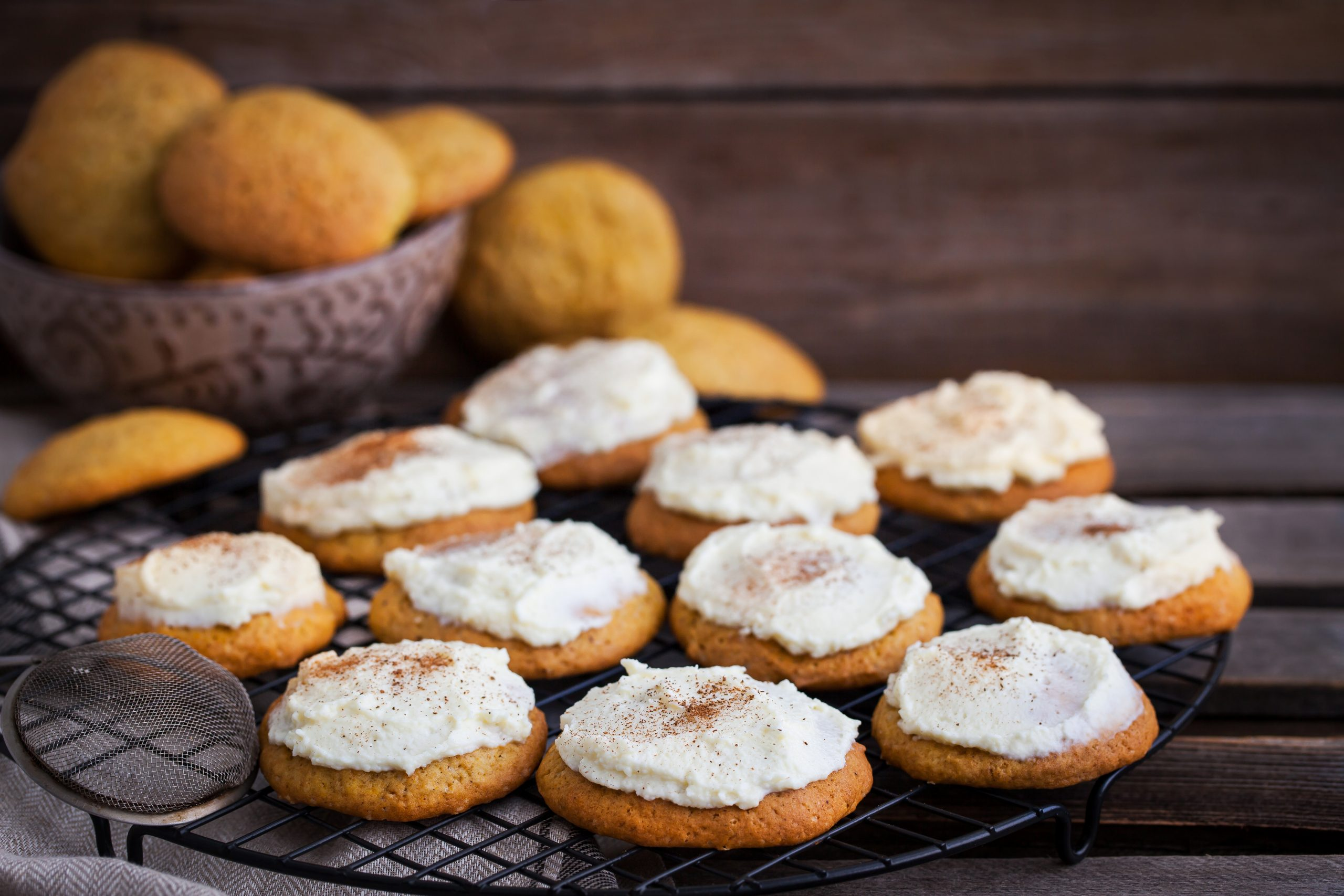 PUMPKIN COOKIES WITH CREAM CHEESE ICING